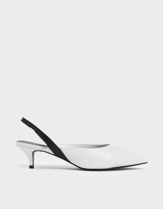 Charles & Keith Two-Tone Pointed Toe Slingback Kitten Heels