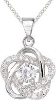JCPenney SPARKLE ALLURE Sparkle Allure Pure Silver-Plated Cubic Zirconia Floral Pendant Necklace