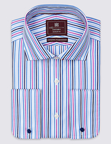 M&s Collection Luxury Pure Cotton Regular Fit Striped Shirt