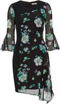 Gina Bacconi BlackGreen Floral Chiffon Crepe Dress