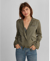 Express silky soft twill smocked sleeve cropped jacket