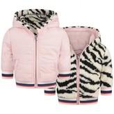 Kenzo KidsGirls Pink Reversible Faux Fur Tiger Jacket