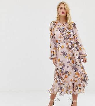 Forever New v neck midaxi dress with frill detail in floral print-Multi