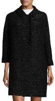 Milly Alexis 3/4-Sleeve Lurex® Tweed Coat, Black