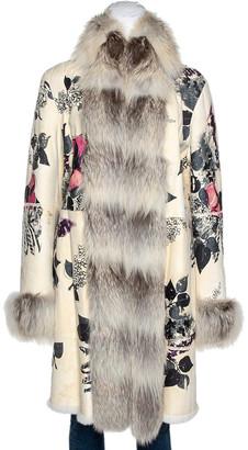 Roberto Cavalli Cream Floral Print Leather Fur Lined Coat L