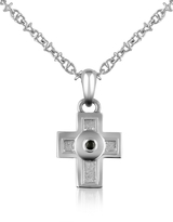 Forzieri Central Black Sapphire Stainless Steel Cross Pendant Necklace