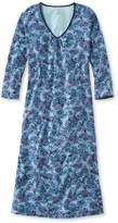 L.L. Bean L.L.Bean Supima Nightgown, V-Neck Three-Quarter-Sleeve Paisley
