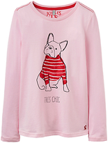 Joules Little Joule Girls' Bulldog Printed T-Shirt, Rose Pink