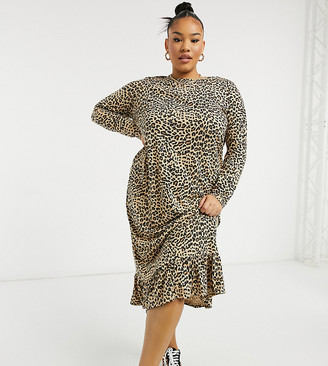 Daisy Street Plus midaxi smock dress in leopard print