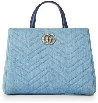Gucci Blue Denim Pearl Marmont Satchel