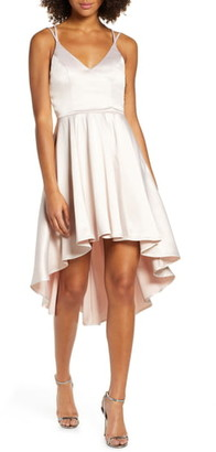 Sequin Hearts High/Low Satin Gown