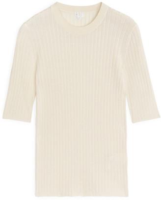Arket Cotton Silk Short-Sleeved Top