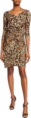 Chiara Boni Emerentienne Leopard-Print 3/4-Sleeve Dress