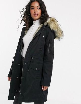 Asos DESIGN parka with detachable faux fur liner