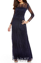 David Meister Sequin Embroidered Long Sleeve Gown