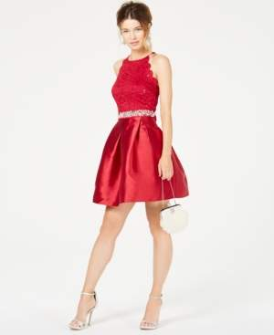 BCX Juniors' Sequined Lace & Satin Fit-and-Flare Dress