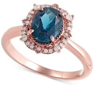 Macy's London Blue Topaz (1-3/8 ct. t.w) & Diamond (1/8 ct. t.w.) Statement Ring in 14k Rose Gold