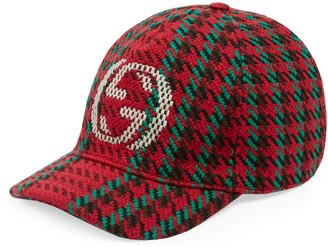 Gucci Houndstooth baseball hat with InterlockingG