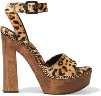 Alice + Olivia Faira Chain-trimmed Leopard-print Calf Hair Platform Sandals