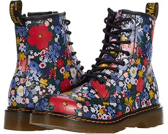 Dr. Martens Kid's Collection 1460 Wanderflora (Big Kid) (Black Hydro Leather) Kid's Shoes