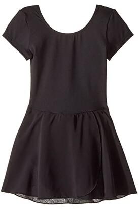 Bloch Cap Sleeve Skirted Leotard (Toddler/Little Kids/Big Kids) (Black) Girl's Dress