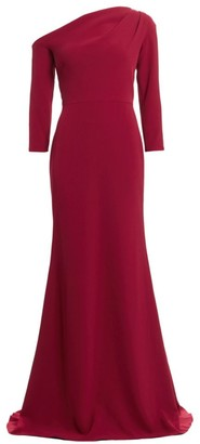Lela Rose Asymmetric Neckline Crepe Trumpet Gown