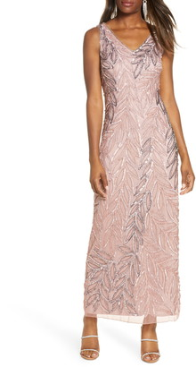 Pisarro Nights Beaded Column Gown