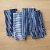 CB2 Set Of 4 Indigo Stripe Napkins