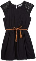 Dex Belted Pintuck Cap Sleeve Dress (Big Girls)