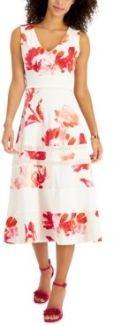 Thumbnail for your product : Taylor Petite Lace-Inset Midi Dress