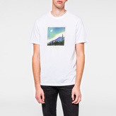 Paul Smith Men's White 'Northern Lights Photograph' Print Organic-Cotton T-Shirt
