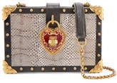 Dolce & Gabbana Box Embellished Textured Leather-trimmed Watersnake Shoulder Bag - Snake print