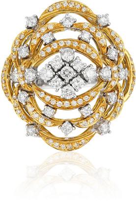 Andreoli Open Work 18k Gold & Diamond Ring, Size 7