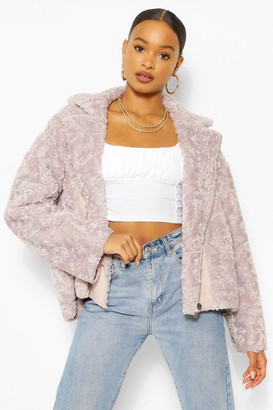 boohoo Oversized Faux Teddy Fur Aviator