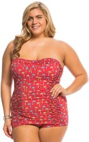 Bettie Page Plus Size Tiki Palms Bandeau Ruched Sheath One Piece Swimsuit 8137876