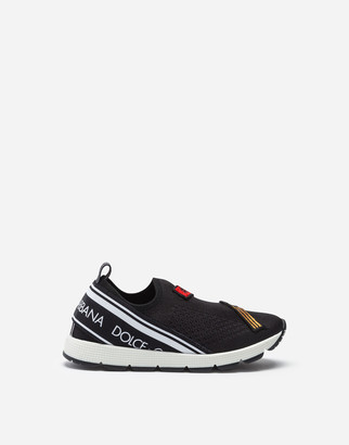Dolce & Gabbana Mesh Sorrento Slip-On Sneakers With Patch