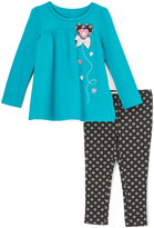 Kids Headquarters Blue Heart Tunic & Black Floral Dot Leggings - Toddler & Girls