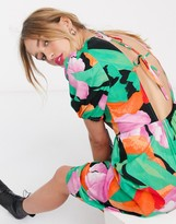 Thumbnail for your product : Lost Ink midi dress with puff sleeves and open back in large scale floral