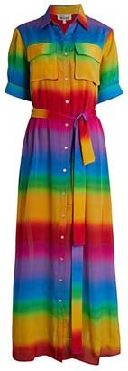All Things Mochi Iska Rainbow Stripe Silk Shirtdress