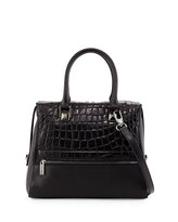 Charles Jourdan Maud Crocodile-Embossed Leather Tote Bag, Black