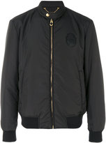 Billionaire logo patch bomber jacket - men - Acrylic/Polyester/Polyurethane/Wool - 52