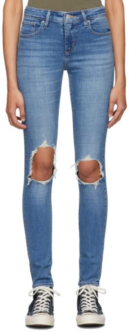 Levi's Levis Blue 721 High-Rise Skinny Jeans