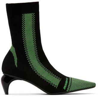 Misbhv Black and Green Knit Ankle Boots