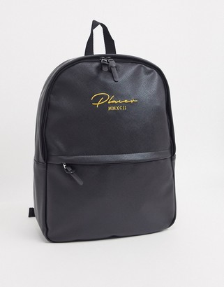 Asos DESIGN backpack in black faux leather saffiano and gold branding
