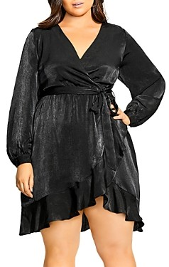 City Chic Plus Faux-Wrap Fit-and-Flare Dress