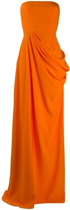 Alex Perry Ruched Side Front Slit Evening Dress