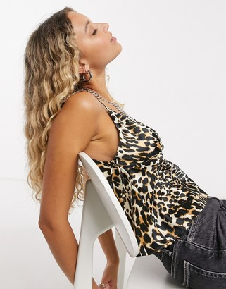 Topshop satin bow detail cami in leopard