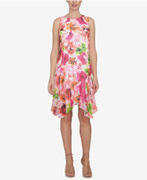 CeCe Handkerchief-Hem Fit & Flare Dress