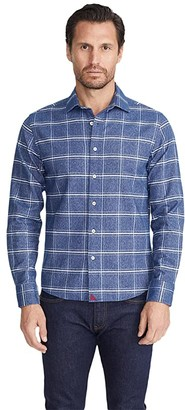 Untuckit UNTUCKit Heavyweight Flannel Brignole Shirt (Blue/White) Men's Clothing