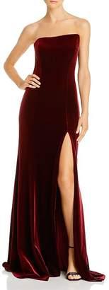 Avery G Strapless Velvet Gown